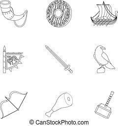 Ancient warriors of the Vikings on the ship. Outfit and symbols of the Vikings.Vikings icon in set collection on outline style vector symbol stock illustration.