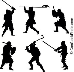 Ancient warriors silhouettes set - Ancient warriors detailed...