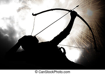 Ancient Wars - A silhouette of an archer, on the backdrop of...