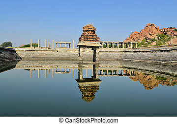 Ancient water pool in Hampi, India
