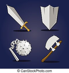 Ancient weapon collection - Cartoon objects set. Eps 10...