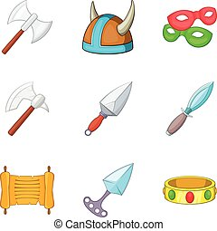 Ancient weapon icons set, cartoon style - Ancient weapon...