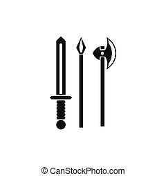 Ancient weapon sword, pick and axe icon