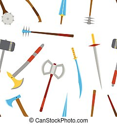 Ancient weapon tool equipment pattern. Melee weapon. Cold weapon.