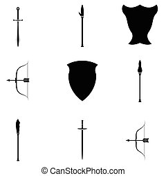 ancient weapons icon set