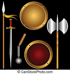 Ancient weapons. - The different ancient weapon on a black ...