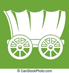 Ancient western covered wagon icon green - Ancient western...