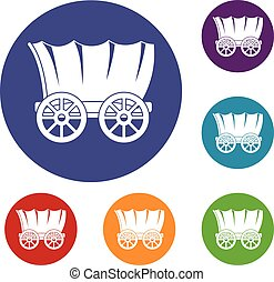 Ancient western covered wagon icons set