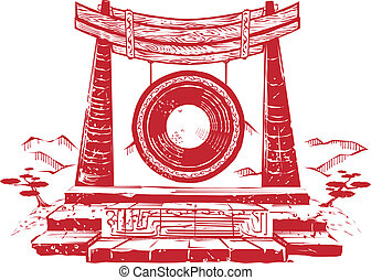 Ancient Wind Gong - Asian style art of a large wind gong