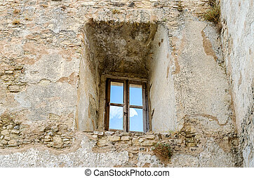 Ancient window from the ruins of an old castle