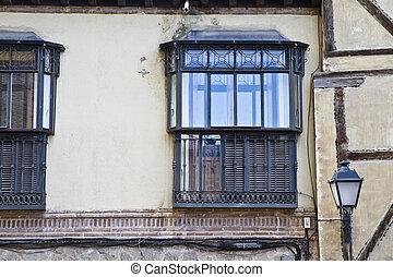 ancient window, toledo city, spain