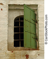 Window in ancient monastery building. Zvenigorod, Russia