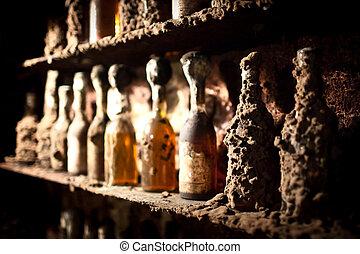 Ancient wine bottles - Ancient bottles of Tokay wine in...