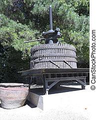 Ancient wine press in Chile.