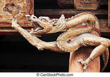 Ancient wood carving art of dragon
