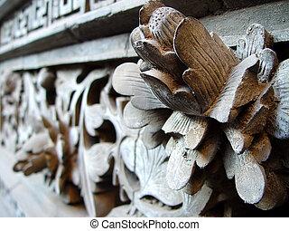 Ancient wood carving art of lotus