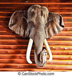 ancient wood carving elephants