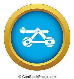 Ancient wooden catapult icon blue isolated