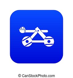 Ancient wooden catapult icon digital blue