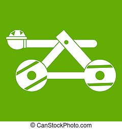 Ancient wooden catapult icon green