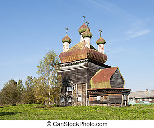 Ancient wooden church in North Russia