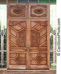 ancient wooden door and texture in temple