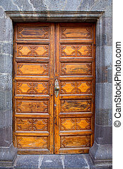Ancient wooden door Santa Cruz de La Palma