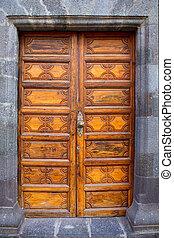 Ancient wooden door Santa Cruz de La Palma