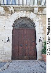 Ancient wooden door.