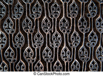 Ancient wooden fabric pattern stamp - Ancient wooden device ...