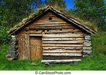 Ancient wooden hut - Ancient fisherman's wooden hut in...