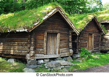 Ancient wooden huts