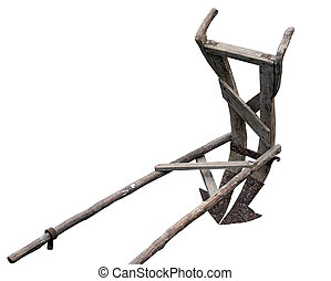 Ancient wooden plough isolated on a white background