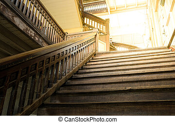 Ancient wooden staircase