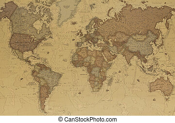 Ancient geographic map of the world with names of the countries