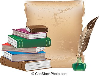 Ancient writing materials - Pile of old books, ancient...