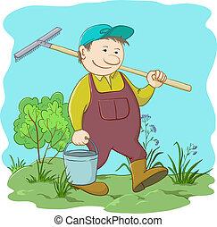 ancinho, balde, jardim, jardineiro