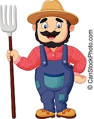ancinho, caricatura, segurando, agricultor