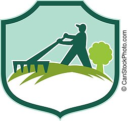 ancinho, escudo, retro, jardineiro, landscaper