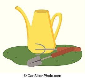 ancinho, jardim, aguando, isolado, pá, lata, ferramentas