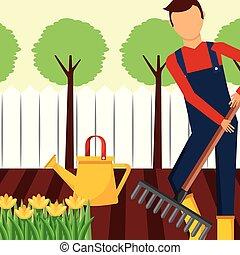 ancinho, jardinagem, trabalhando, lata molhando, jardineiro