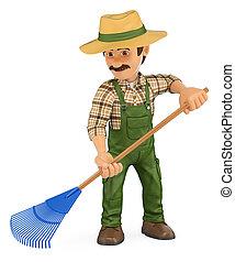 ancinho, jardineiro, trabalhando, 3d