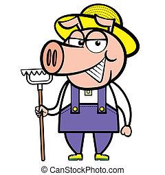 ancinho, porca, caricatura, agricultor