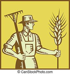 ancinho, trigo, woodcut, agricultor