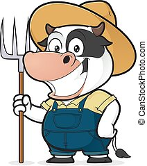 ancinho, vaca, segurando, agricultor