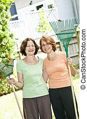 ancinhos, jardim, mulheres