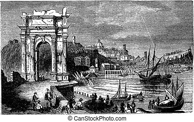 Ancona and the Arches of Trajan, Italy. Scene from 1890, old vintage illustration.