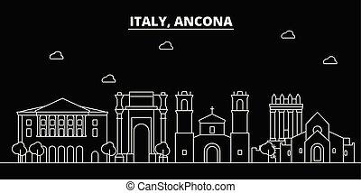 Ancona silhouette skyline. Italy - Ancona vector city,...