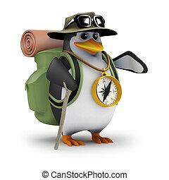 ancora, pinguino, spento, andando gita, 3d