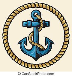 ancorare, e, corda, disegno